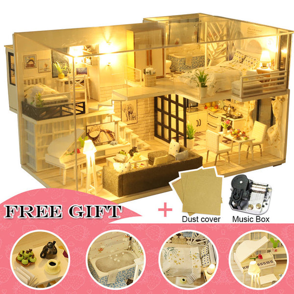 DIY Dollhouse Wooden Miniature Furniture Kit Casa Music Led Toys Gift M16
