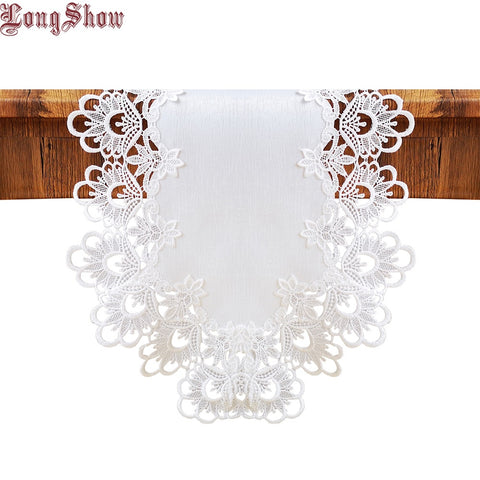 Embroidered Lace Trim White Color Slubbed Cloth Floral Style Table Runner