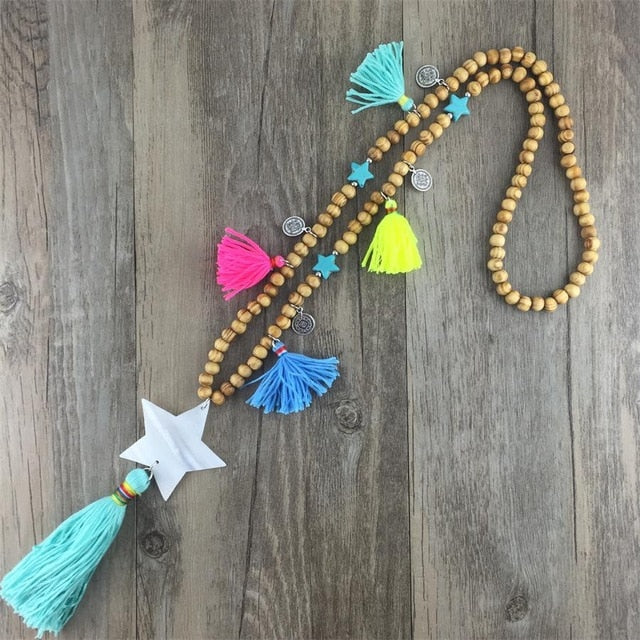 Wooden Beaded Chain Sea Shell Five Stars Pentagram Pendants Tassel Pendant Maxi Collar