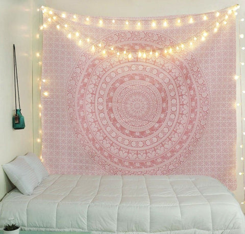 Pink Mandala Pattern Tapestry Wall Hanging Tapestry Home Decor Room Bedspread
