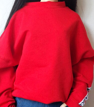 BJD doll clothes fist 60m 1/3 SD fashion red casual sweatshirt and denim shorts