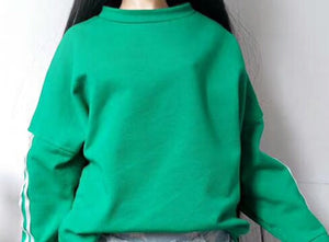 BJD doll clothes for 1/3 BJD SD leisure hooded Sweatshirt Black white green denim shorts