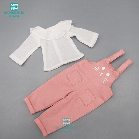 BJD doll clothes fits 1/6 doll fashion White shirt casual strap trousers
