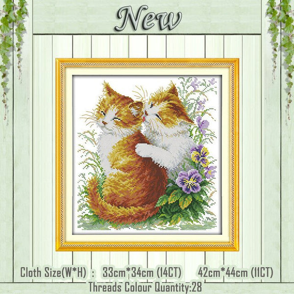 Black and white cat lovers kittens painting counted printed on canvas DMC 14CT 11CT Cross Stitch