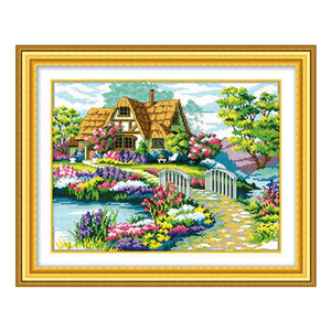 Wholesale needlework 100% Accurate Printed DIY Cross Stitch Kit Embroidery Cross Wall Decor beautiful house garden