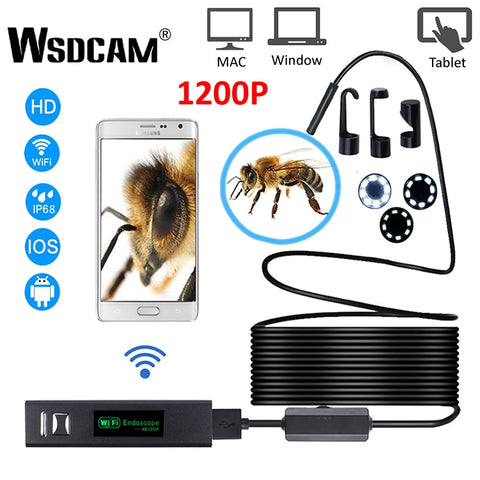 WIFI Endoscope Camera HD 1200P Mini Waterproof Hard Wire Wireless 8mm 8 LED Borescope