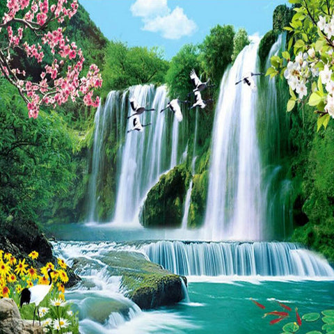 "100% Full 5D Diy Daimond Painting ""Waterfall Landscape"" 3D Diamond Painting Round Rhinestone"