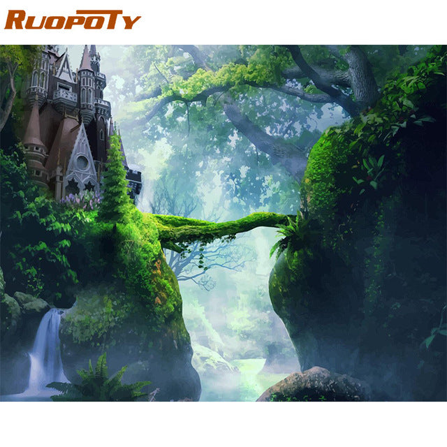 Frame Forest Castle DIY Painting By Numbers Landscape Modern Wall Art Picture Paint