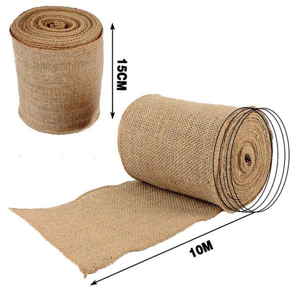 10M Roll Upholstery Fabric Natural Jute Hessian Burlap Cloth Craft Wedding Party
