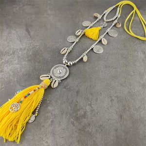 Boho Yellow Necklaces For Women Long Shell Colorful Beads Pendant Statement