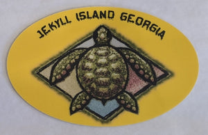 Oval Yellow Turtle Sticker