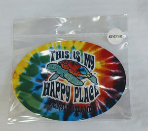 "Tye Dye ""This is my Happy Place"" Turtle Sticker"