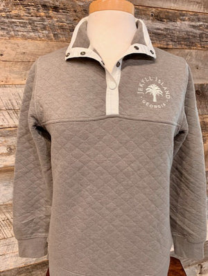 Ladies Quilted 1/4 Button Pullover