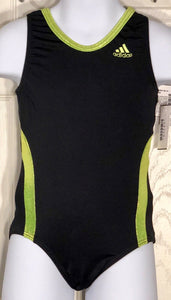 WAS $49.99 NWT! ADIDAS CHILDS BLACK LIME FOIL GYMNASTICS DANCE GK LEOTARD CXS - Outlet Values