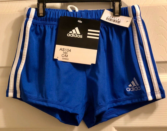 NWT! ADIDAS GYMNASTIC RUNNING PERFORMANCE GK ELITE SHORTS BLUE/WHITE  CHILD M - Outlet Values
