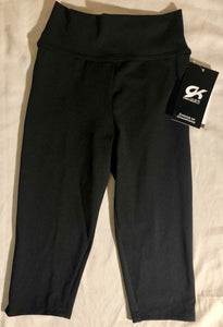 WAS $67.99 NWT! GK Elite Gymnastic Dance Capri Tights Dry Tech Black Child M - Outlet Values