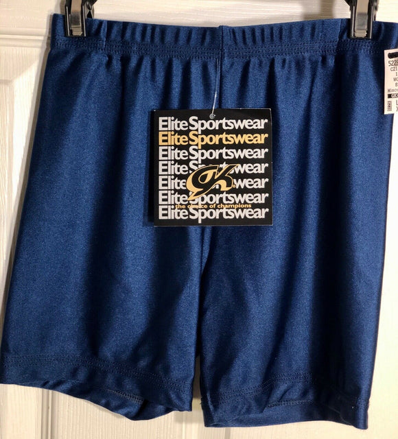 GK WORKOUT SHORTS LADIES X-SMALL DANCE CHEER GYMNASTIC NYLON/SPANDEX NAVY AXS  - Outlet Values