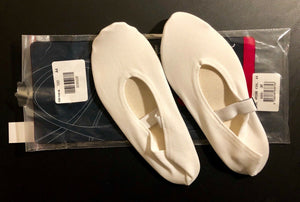 WAS 29.99 NWT! GK ELITE #GK100 CARITE RUBBER SOLE GYMNASTICS SLIPPER WHITE Sz A4 - Outlet Values