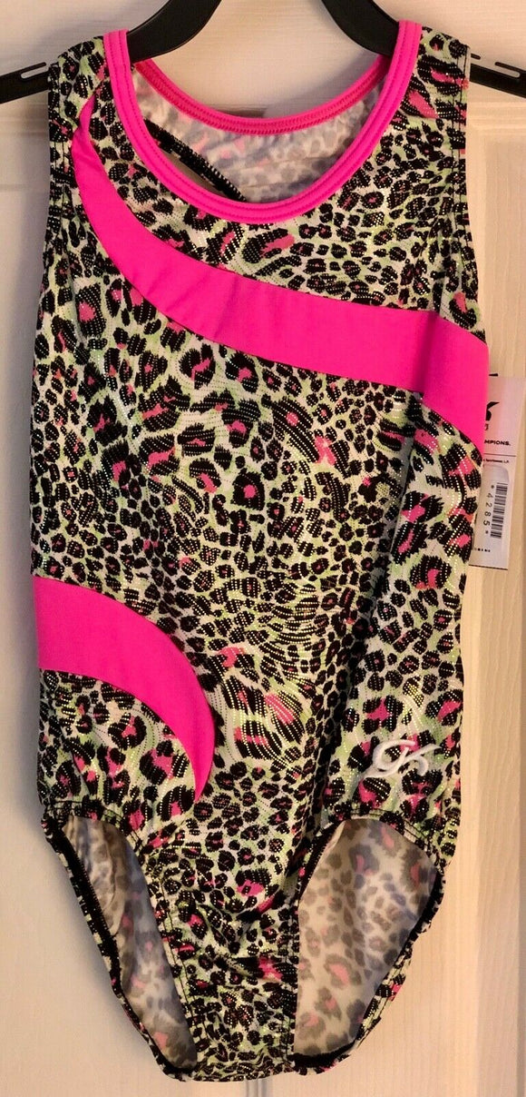 GK ELITE PANTHER FOIL PRINT CHILD LARGE PINK N/S GYMNASTICS DANCE LEOTARD CL NWT - Outlet Values