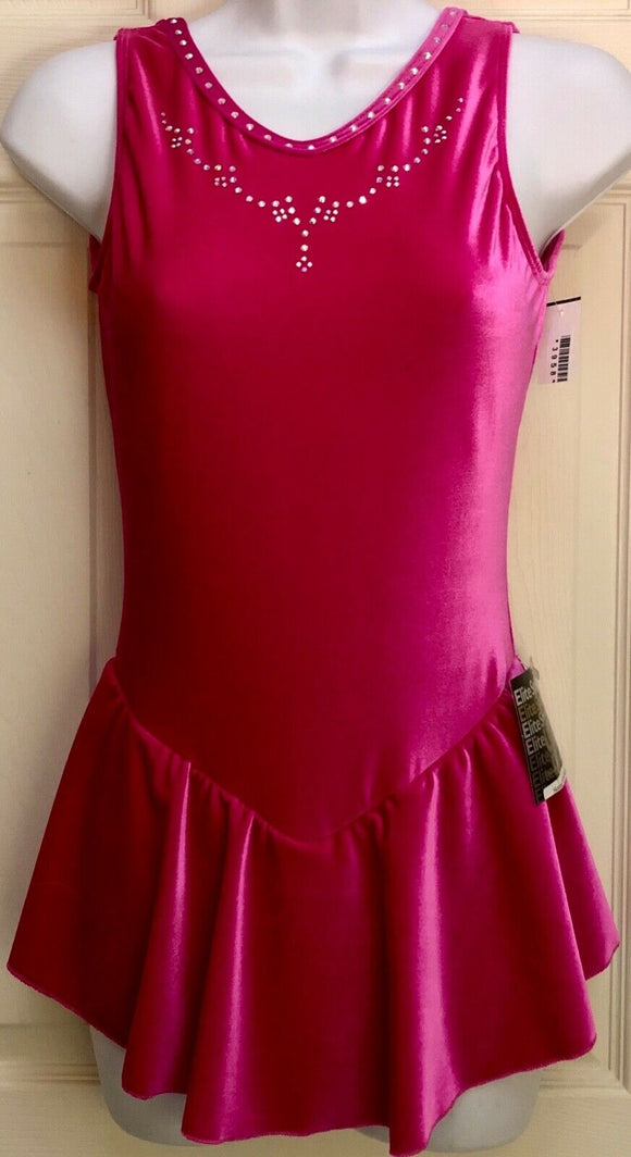 GK ICE FIGURE SKATE DRESS ADULT SMALL PINK VELVET SLVLS CRYSTALS O-RING AS NWT! - Outlet Values