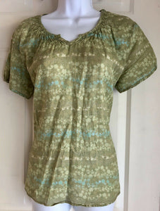 WOOLRICH WOMEN'S PEASANT TOP SHORT SLEEVE COTTON GREEN/TEAL PRINT SIZE XS - Outlet Values
