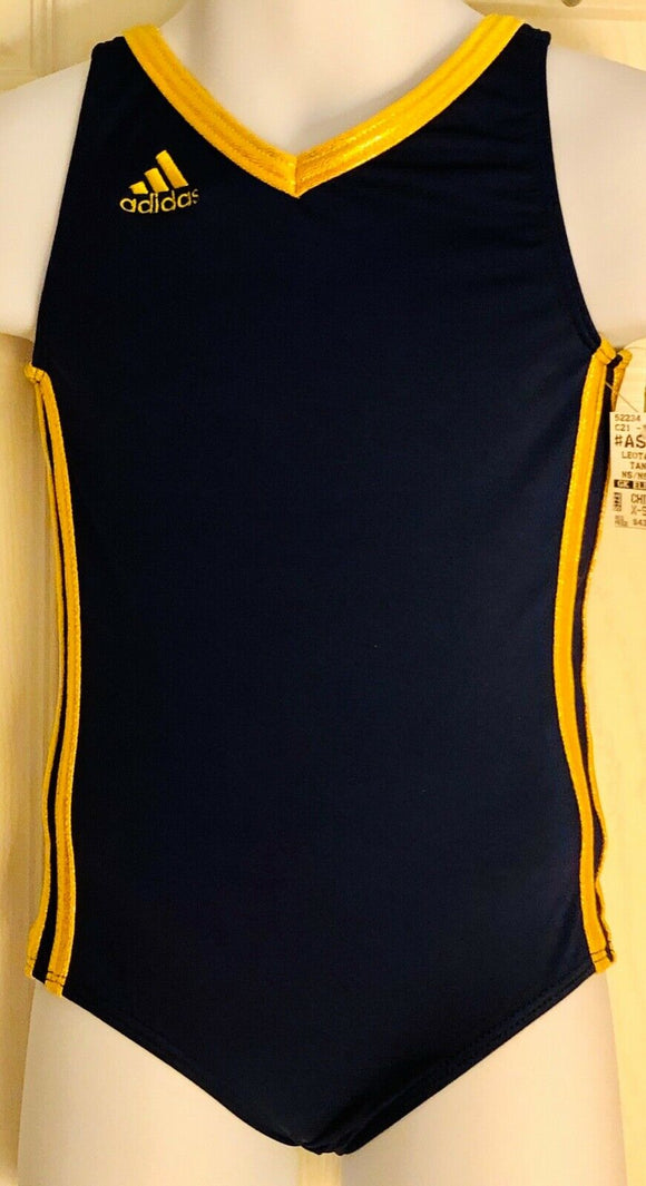 ADIDAS TANK GK LEOTARD CHILD X-SMALL NAVY NYLON YELLOW FOIL GYMNASTIC DANCE CXS - Outlet Values