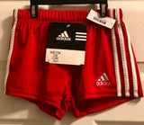 NWT! ADIDAS GYMNASTIC RUNNING PERFORMANCE  GK ELITE SHORTS RED/WHITE CHILD M - Outlet Values