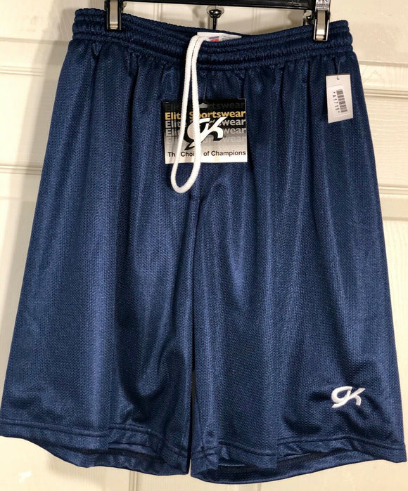NWT! SOFFE GK Elite Boys Navy Mesh Polyester Long Shorts Size Child L - Outlet Values
