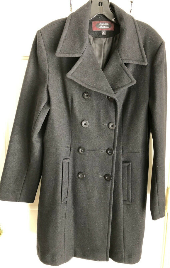 STEPHANIE MATTHEWS WOMENS BLACK DOUBLE-BREASTED WOOL PEACOAT SIZE M MISSY - Outlet Values