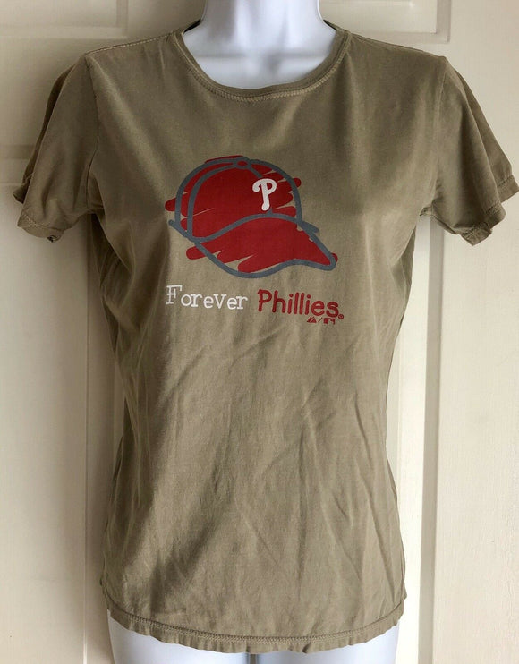 NWT Majestic Forever Phillies Ladies Short Sleeve Shirt Size Med Tan/Red - Outlet Values