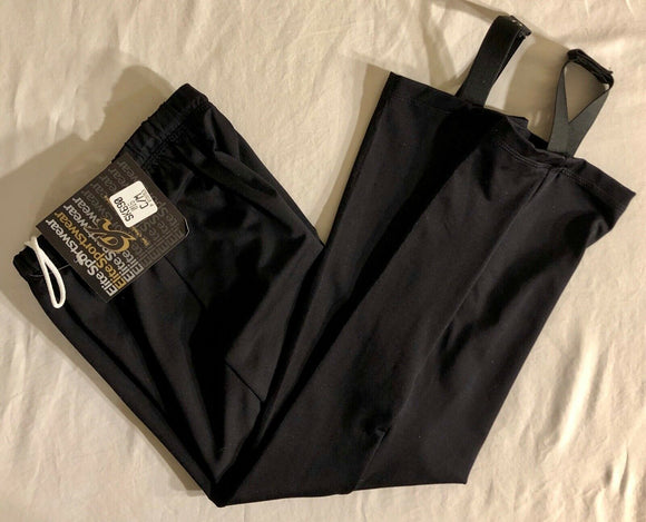 WAS 59.95 NWT! GK ELITE BOYS ICE SKATE PANTS WITH STIRRUPS BLACK SIZE CHILD M - Outlet Values