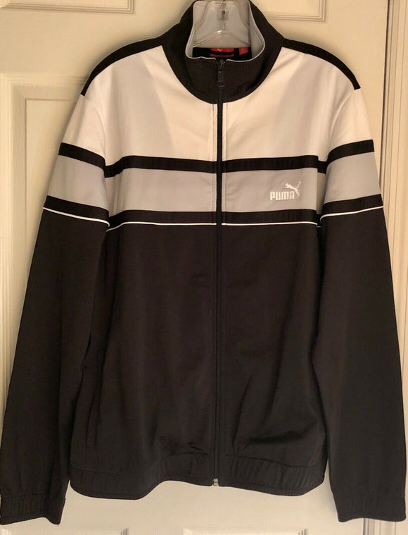 PUMA MENS LONG SLEEVE FULL ZIP COLORBLOCK TRACK JACKET SWEATSHIRT NAVY Sz L EUC! - Outlet Values