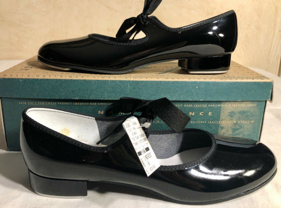 LEO'S TEMPO STUDENT TIE TAP SHOE LADIES 6 BLACK PATENT LEATHER #808W NIB  - Outlet Values