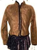 WAS $52.95 NWT! GK ELITE FITTED ICE SKATE JACKET BROWN FLEECE VELVET ZIP ADULT S - Outlet Values