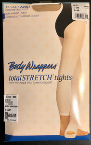 NWT! Body Wrappers Total STRETCH Convertible Dance Tights Nylon Spandex TAN AS/M - Outlet Values