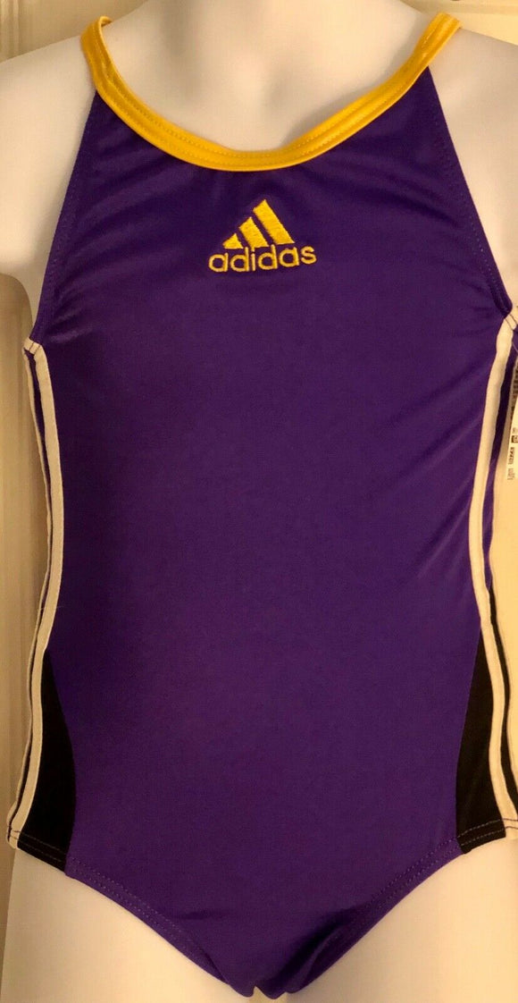 ADIDAS CAMI GK LEOTARD CHILD X-SMALL PURPLE YELLOW NYLON GYMNASTICS DANCE CXS  - Outlet Values