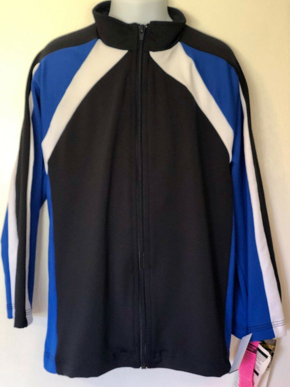 WAS $104.99 NWT! GK Elite Child's Black/Blue Warm Up Jacket Dry Tech Black Sz CS - Outlet Values