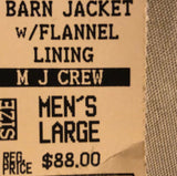 WAS $88.00 NWT! BRAND?? MENS BARN JACKET WITH FLANNEL LINING BEIGE SIZE L - Outlet Values