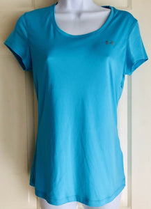 UNDER ARMOUR WOMENS HEAT GEAR SHORT SLEEVE ATHLETIC TOP AQUA BLUE SIZE SMALL - Outlet Values