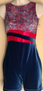 WAS $42.00 NWT! GK Elite Ladies Tank Blue Velvet Red Foil Dance Biketard Size AS - Outlet Values