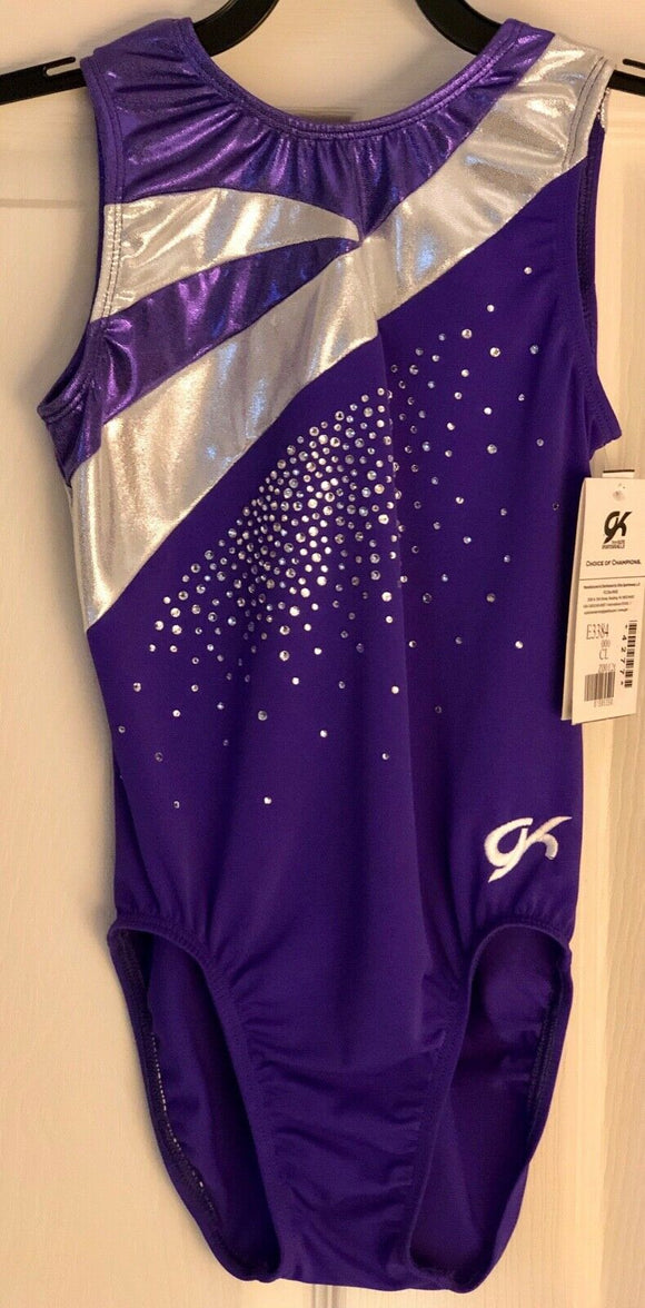 GK VINCA WAVE GIRLS LARGE PURPLE FOIL N/S JA GYMNASTICS  DANCE TANK LEOTARD CL - Outlet Values