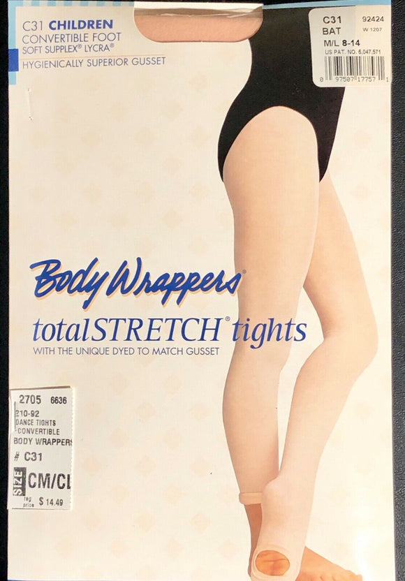 NWT! Body Wrappers Total STRETCH Convertible Dance Tights Spandex PINK CM/CL - Outlet Values