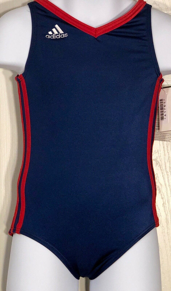 WAS $41.99 NWT! ADIDAS CHILDS BLUE RED GYMNASTICS DANCE GK LEOTARD NYLON CXS - Outlet Values