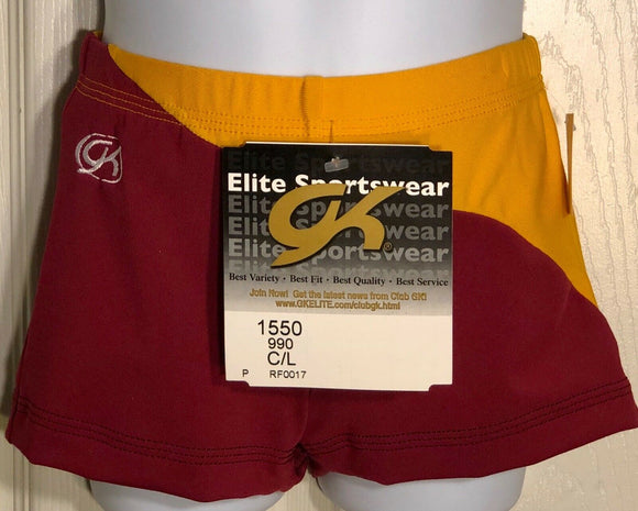 GK CHEER ASYM MICRO MINI SHORTS CHILD LARGE BURGUNDY GOLD SWIRL DRYTECH CL NWT!  - Outlet Values