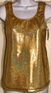 WAS $24.95 NWT! GK Elite Gold Hologram Polyester Tank Dance Top Size Adult L - Outlet Values