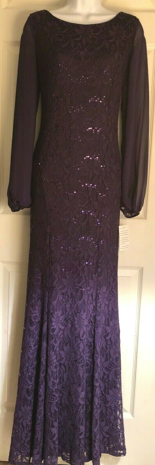 WAS $378.00 NWT! URSULA OF SWITZERLAND MISSYS PURPLE COWL BACK MOB GOWN Sz 8 - Outlet Values