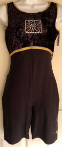 WAS $37.00 NWT! GK ELITE BLACK VELVET NYLON JA DANCE  BIKETARD SIZE LADIES XL - Outlet Values