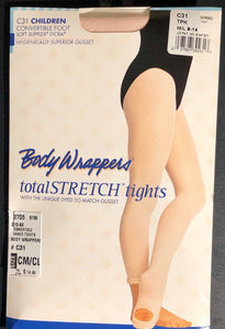 NWT! Body Wrappers Total STRETCH Convertible Dance Tights Spandex T-Pink CM/CL - Outlet Values