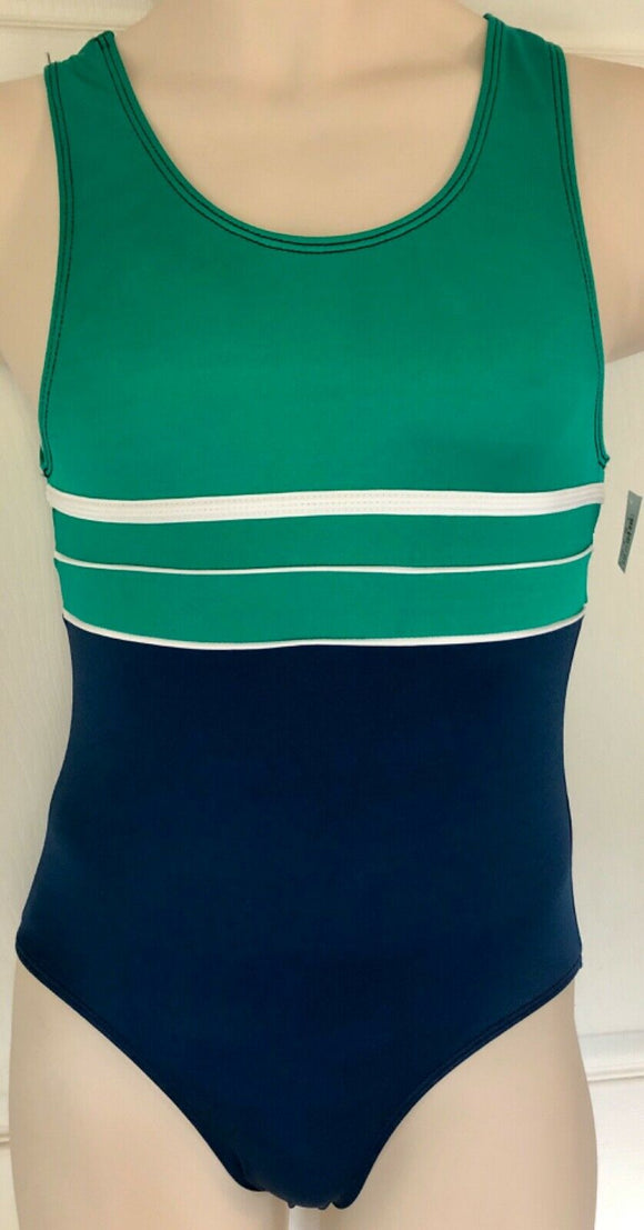 GK COMPETITION SHIRT ADULT SMALL GREEN NAVY GYMNASTS TRADITIONAL LEG CUT AS NWT! - Outlet Values