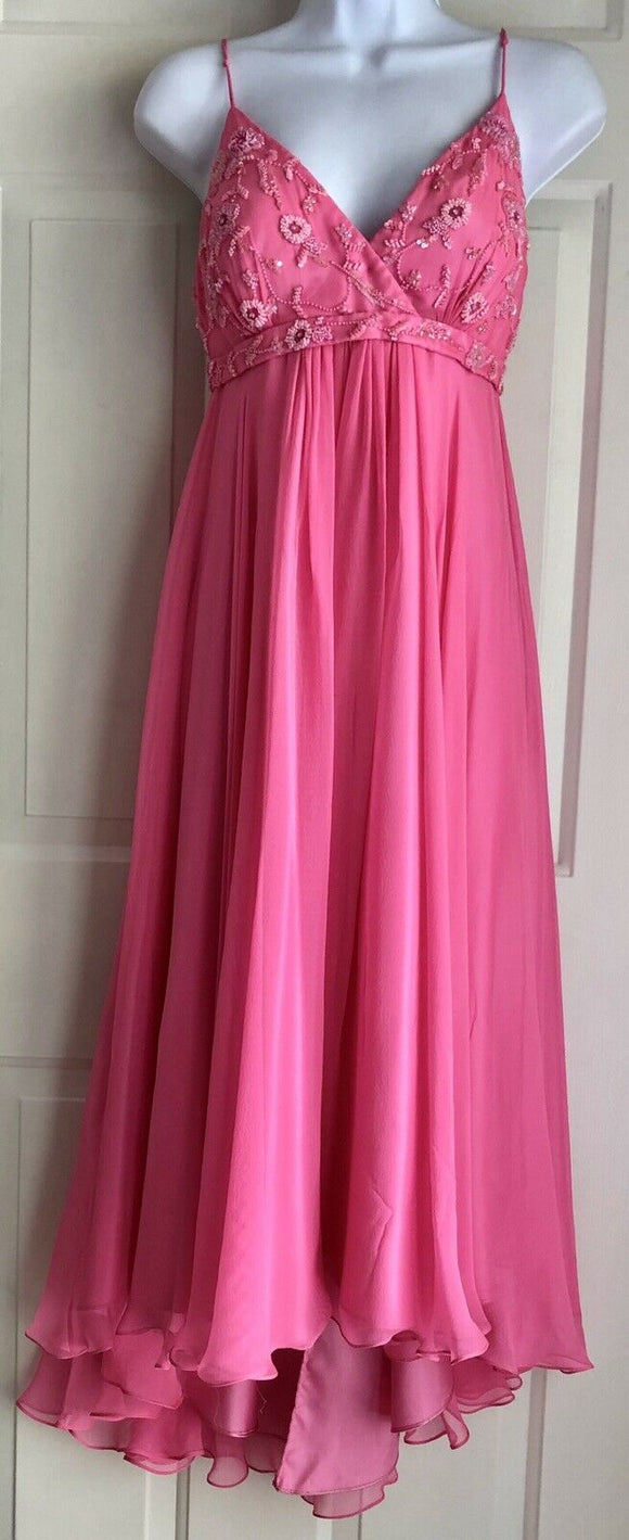 SCALA FUCHSIA HAND-BEADED LONG SILK PROM DRESS, FORMAL EVENING GOWN SIZE SMALL - Outlet Values